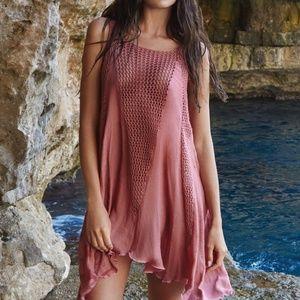 Elan crochet gauzy swing coverup dress blush pink